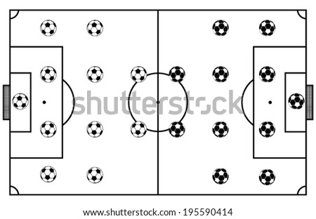 Soccer Stadium Field Black Vector Illustration - stock vector