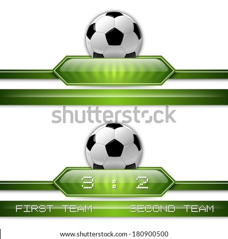 Soccer symbol. Football with green button for score information. - stock vector