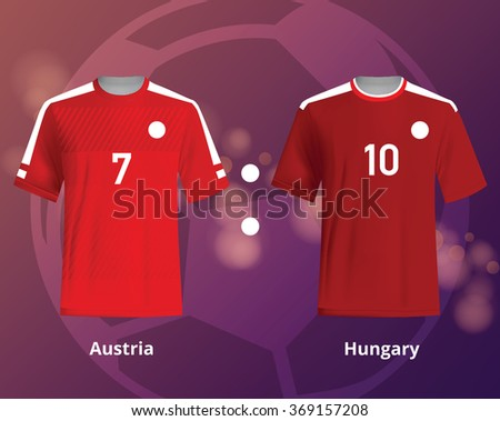 Soccer T-shirts of Austria and Hungary. Football team equipment - stock vector