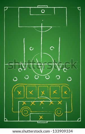 Soccer tactic table. Defensive. Bus tactic. Vector illustration - stock vector