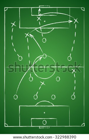 Soccer Tactic Table. Vector Illustration. The Tactical Scheme Of Four One Two Three - stock vector
