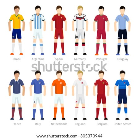 Soccer team or Football team players on white background - stock vector