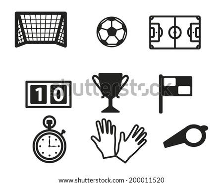 Soccer theme icon set - stock vector
