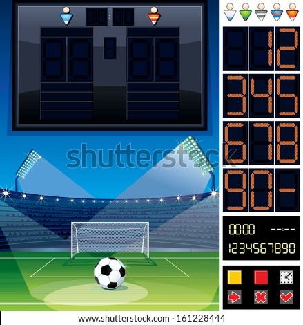 Soccer Theme Vector Kit. Scoreboard, Background, Digital Display Numbers Set - stock vector