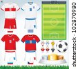 Soccer Vector Collection. Euro 2012. Group A - Polish, Russian, Greece, Czechish National Football Uniform. - stock photo