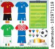 Soccer Vector Collection. Group D.Abstract National Football Uniform with Variety Objects. - stock vector