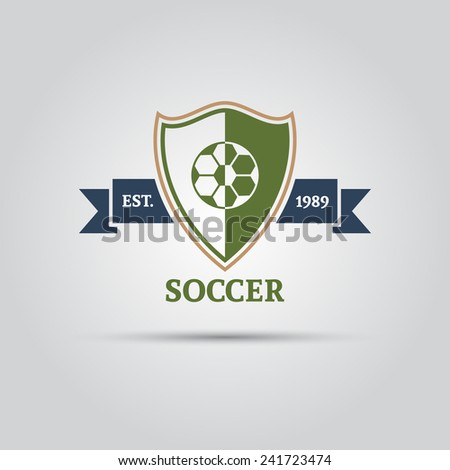 soccer vector isolated logo shield with ribbon for your text - stock vector