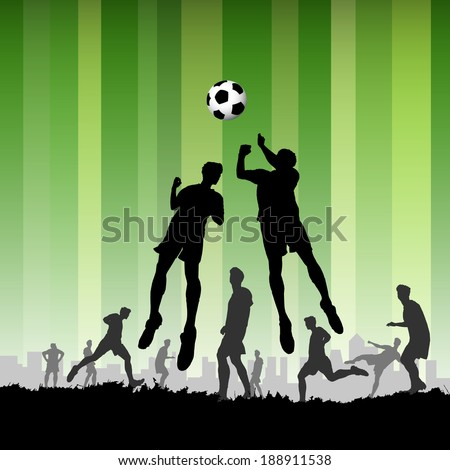 Soccer with Players on green background, vector illustration - stock vector