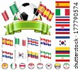 Soccer World Championship 2014 Brazil Collect with Flags, Ball, Ribbon and Flags, isolated vector. Part 2 of 4. - stock photo
