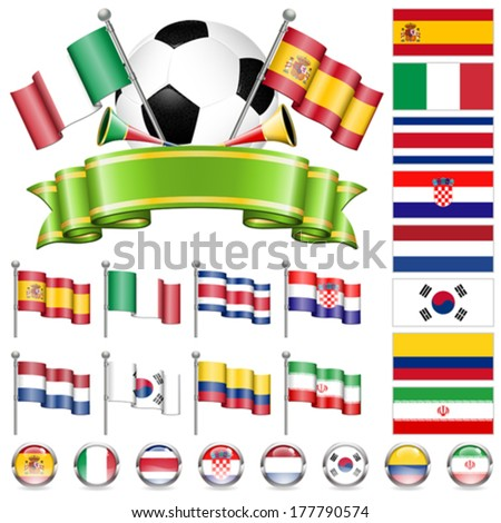Soccer World Championship 2014 Brazil Collect with Flags, Ball, Ribbon and Flags, isolated vector. Part 2 of 4. - stock vector