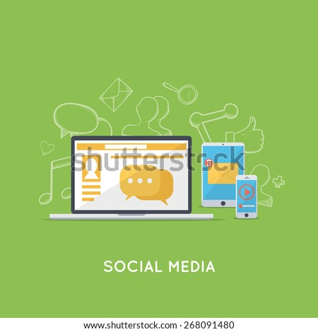 Social activity and communication. Modern flat design template. Infographic background. - stock vector