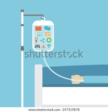 social addiction, patient on sick bed healed by social network, concept, flat style - stock vector