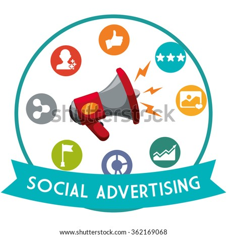 Social Advertising and Marketing  online  - stock vector