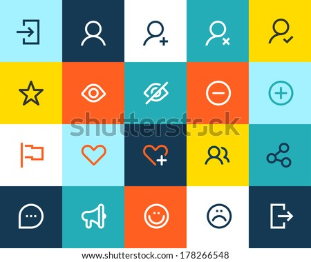 Social and communication icons. Flat - stock vector