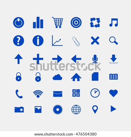 Social and media blue icons
