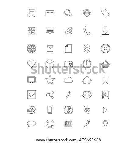 Social and media line icons