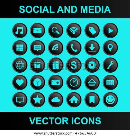 Social and media vector icons