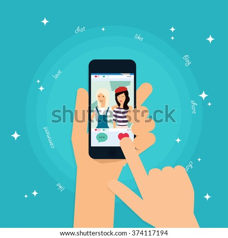 Social app concept on touchscreen. Human hand finger pressing like (love) button on a tablet with social media app. Social Network Vector Concept. Communication Systems and Technologies.