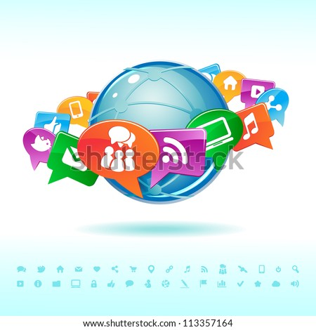 Social background network of the icons vector - stock vector