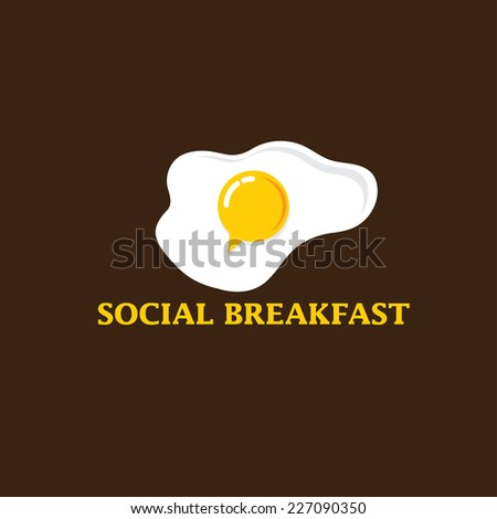 social breakfast with fried eggs vector design template - stock vector