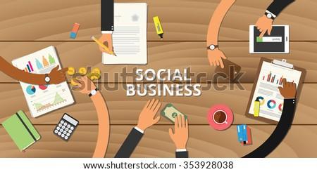 social business entrepreneurship concept graph data money analyze - stock vector
