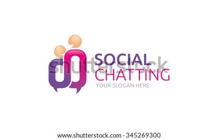 Social Chatting Logo - stock vector