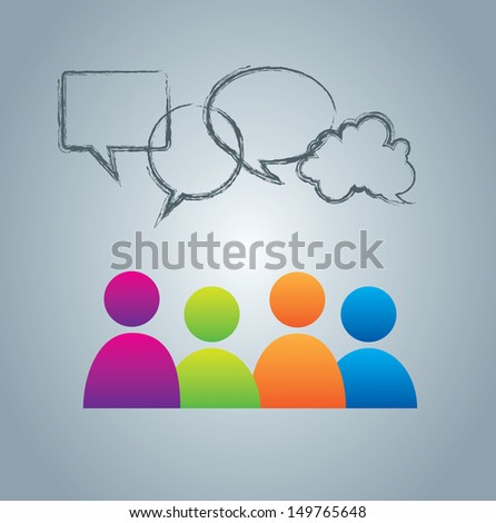social clouds  over blue background vector illustration  - stock vector