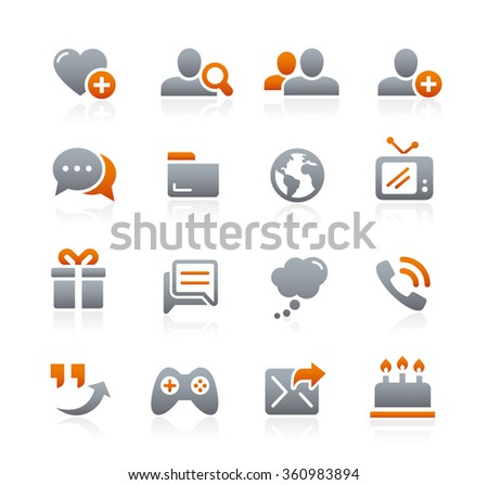 Social Communications Icons // Graphite Series - stock vector