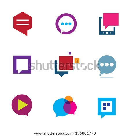 Social community share and interaction chat bubble message icon logo elements - stock vector