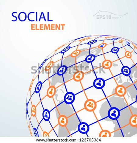 social element globe worldwide / vector - stock vector