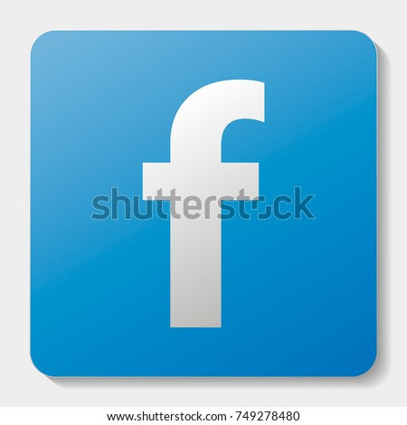 Social Facebook network icon with shadow. Vector illustration. f font on blue background with shadow.