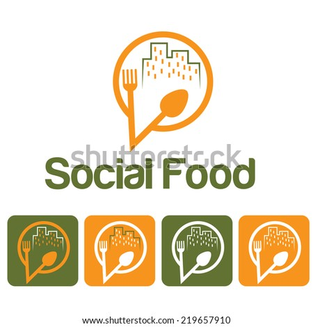 social food illustration and icon set - stock vector