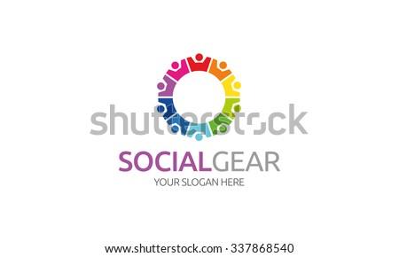Social Gear Logo - stock vector