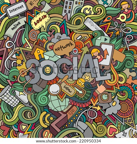 Social hand lettering and doodles elements background. Vector illustration - stock vector