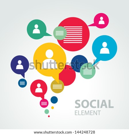 social icon group element - stock vector