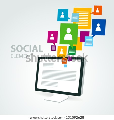 social icon group element computer pc display - stock vector