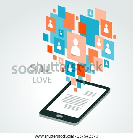 social icon group element flirtation - stock vector