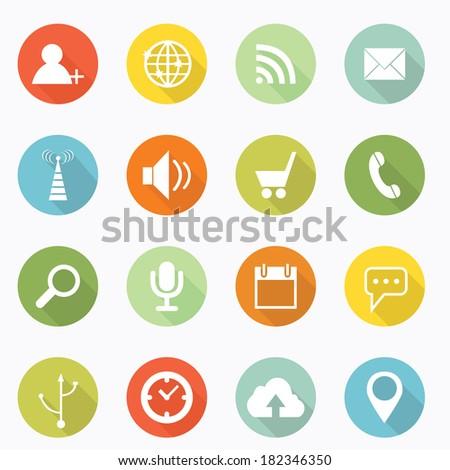 Social icon long shadow design - stock vector