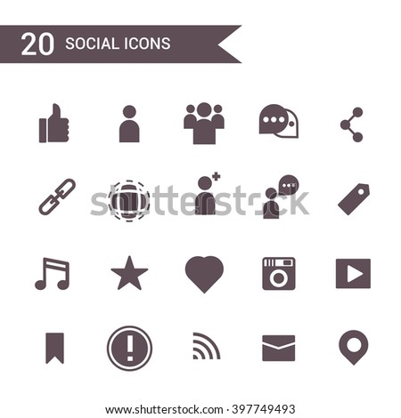 social icon set vector. Silhouette icons.