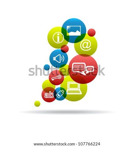 Social Icons Background. Internet Symbol. Vector Design Template. - stock vector