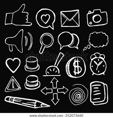 Social icons buttons on black background. Vector illustration. Hand drawn.
