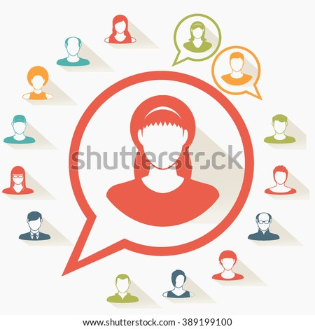 Social icons.People icon.People Flat icons collection.User Icons and People Icons with Background. - stock vector