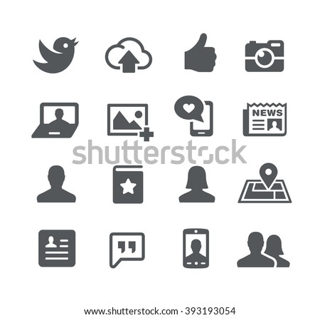 Social Icons // Utility Series - stock vector