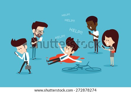 Social ignore flat design cartoon - stock vector