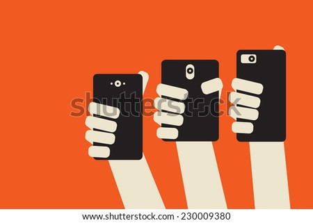 Social journalism: multiple hands holding smartphones to take  picture or record video - stock vector