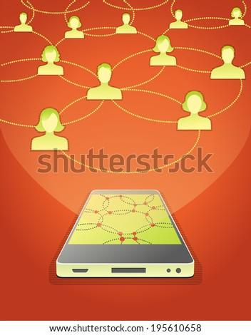 Social life through smart phone - stock vector