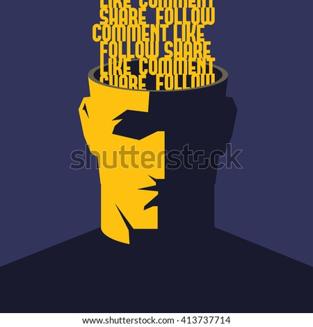 Social media addicted. Male open head with words Like, Comment, Share, Follow inside. Social media influence concept vector illustration. - stock vector