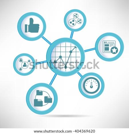 social media analytics infographic - stock vector