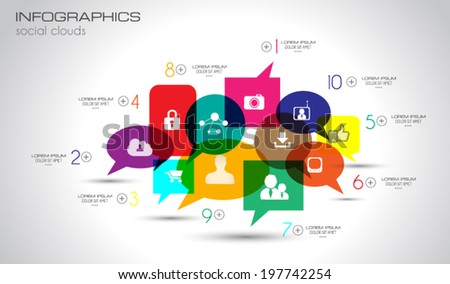 Social Media and Cloud concept Infographic background with a lot of icons for seo, advertising banners, cover materials or branding brochures - stock vector