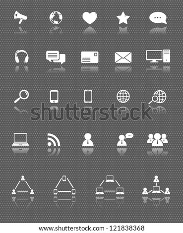 social media and computer communication web icons set with reflection on dark background - stock vector